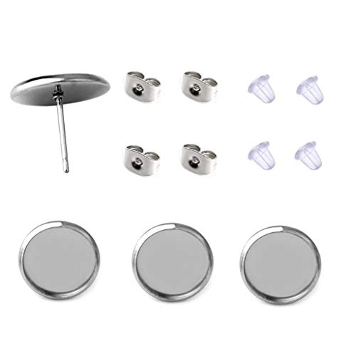 40 Pcs Stainless Steel Stud Earring Cabochon Setting Post Cup Fit for 12mm,80 Pcs Earring Backs (fit for 12mm)
