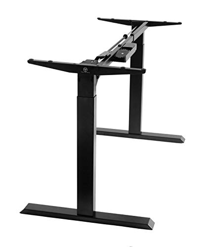 Price comparison product image TechOrbits Electric Standing Desk Frame - Two Leg Motorized Stand Up Desk Base - Sit Stand Desk with Memory Settings and Telescopic Height Adjustment (Black)