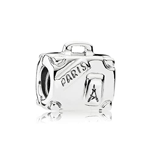 Pandora 925 Charm Silver Bead Paris Maleta Bolso Moda Mujer Brazalete Regalo Diy Joyería