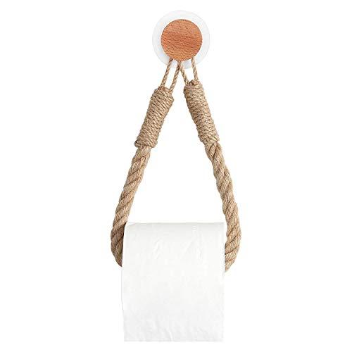Fransande - Portarrollos higiénicos de cuerda náutica para colgar en la pared, con gancho de pared, adhesivo para la decoración del cuarto de baño
