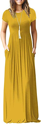 Women's Short Sleeve Long Maxi Summer Casual Formal Dresses Yellow Large