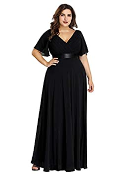 Ever-Pretty Women s Long V-Neck Ruffle Short Sleeves Plus Size Bridesmaid Dresses Black US22