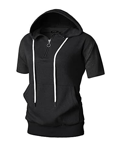 GIVON Womens Comfortable Short Sleeve Lightweight Quarter 1/4 Zip Kanga Pocket Hoodie/DCF211-BLACK-XL