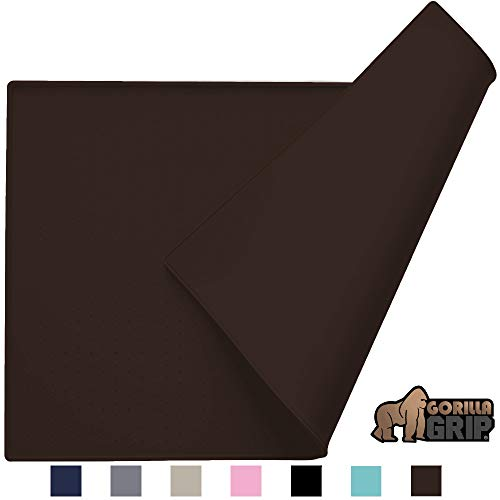 Gorilla Grip Silicone Pet Feeding Mat, Easy Clean, Large, 23x15, Dishwasher Safe, Waterproof, Raised Edges, Pets Placement Tray Mats to Stop Dog and Cat Food Spills and Water Bowl Messes, Brown