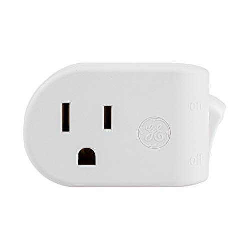 GE Grounded On/Off Power Switch, Plug-In, White, Energy Efficient, Space Saving Design, UL Listed, 15A, 120VAC, 1800W, 25511