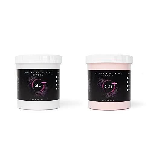 Acrylic Nail Powder 2 pc Set- StG Professional Dip and Sculpting Powder- Clear 10oz & Cover Pink 10oz