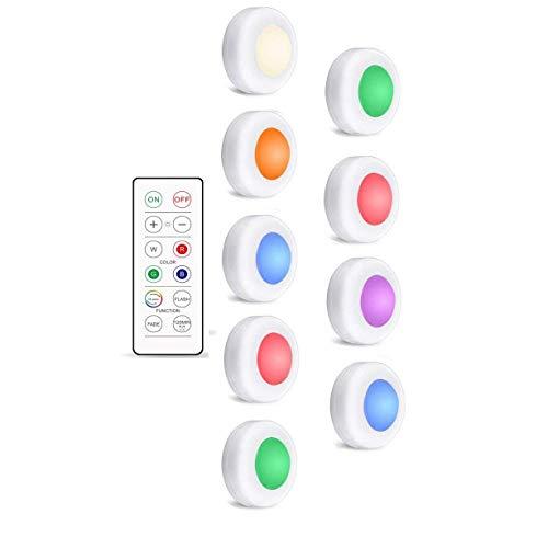 Veilleuse 16 Couleurs sous Les Lumières du Cabinet Dimmable LED Puck Night Lights Portable Cabinet Cuisine Placard Lampes avec Télécommande Et Contrôle Tactile 1 Contrôle