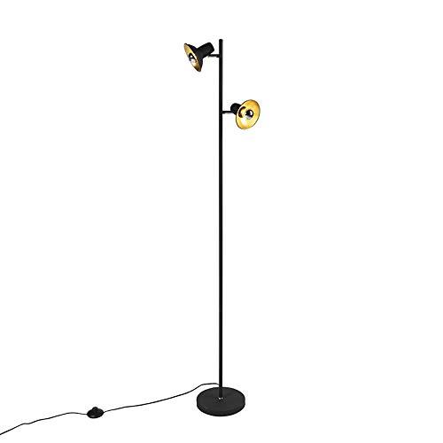 QAZQA Industriel Lampadaire/Lampe de sol/Lampe sur Pied/Luminaire/Lumiere/Éclairage design noir avec 2 lumières dorées - Avril Acier Noir,Doré Oblongue/Bio E14 Max. 2 x 25 Watt/intérieur