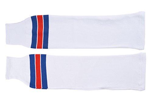 SCHANNER - Erwachsenen Hockeystutzen NHL Senior I Schienbeinschutz I Stutzen für Hockeyspieler I Eishockey-Stutzen I ideale Passform I 100% Polyester - Weiß/Blau/Rot