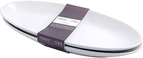 Home Essentials 15163 - Juego de 2 bandejas ovaladas para servir (2 unidades), color blanco