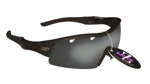 Rayzor Professionnel léger UV400 Noir Sport Wrap Golf Lunettes de Soleil, avec Un 1 Piece ventilé fumé Miroir Anti-éblouissement Lens.
