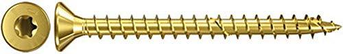 fischer Power-Fast FPF-ST 4,5 x 16 YZF - Spanplattenschrauben mit Senkkopf zur Befestigung von Holzverbindungen, Beplankungen und Metallbeschlägen, gelbverzinkt - 200 Stück - Art.-Nr. 653521