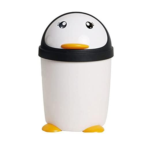 OMYLFQ Papeleras Lindo pingüino Basura de Bote de la casa Baño Grande Flip de Cocina Sala de Estar Interior Papelera de Almacenamiento de Bote de baño Bote de Basura