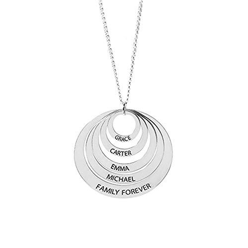 Damofy Personalisierte Familienkette mit Gravur 2-5 Namenskette für mütter Muttertagsgeschenk Basteln mit Kindern