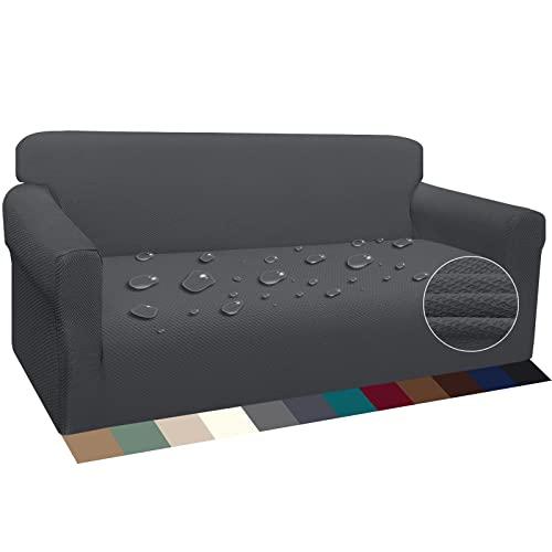 Luxurlife Stretch Wasserdicht Sofabezug für 3 Sitzer Stylish Pattern Sofahusse Anti Rutsch Kratzfest Couchhusse mit Anti-Rutsch-Schaumstoffe(3 Sitzer,Grau)