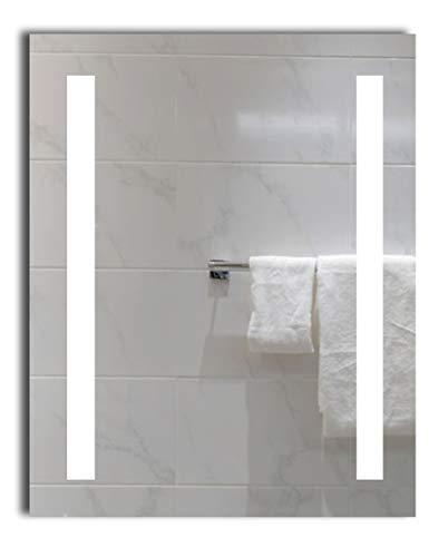 Dr. Fleischmann LED-beleuchteter Badezimmerspiegel Lichtspiegel Badspiegel Wandspiegel Tageslichtweiß Kaltweiß 6400K (40 x 60 cm)