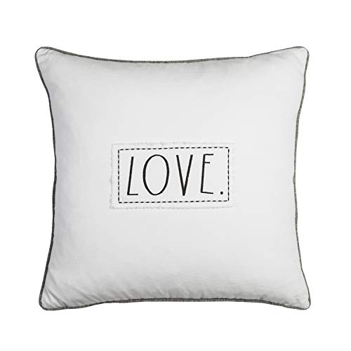 Decorative Pillow with Love Embroidered Sentiment Patch