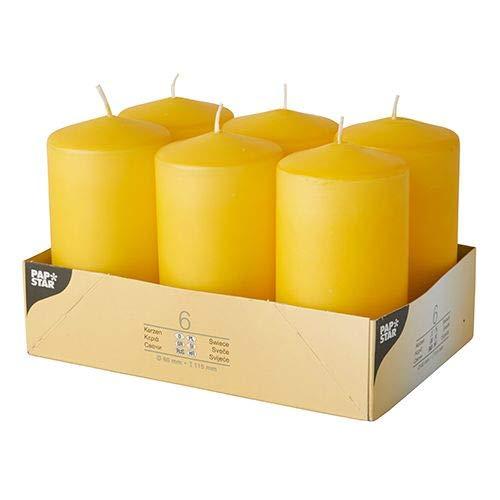 Papstar 6 candele a colonna, Ø 60 mm, 115 mm, colore giallo oro, riceverete 6 pezzi