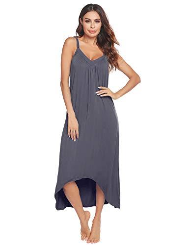Ekouaer Womens Sleeveless Long Nightgown Summer Slip Night Dress Cotton Sleepshirt Chemise,A-dark Grey 6696,Large
