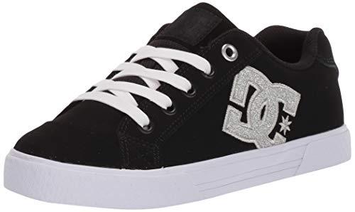DC Women's Chelsea SE Skate Shoe, Black/Metallic Silver, 5 M US