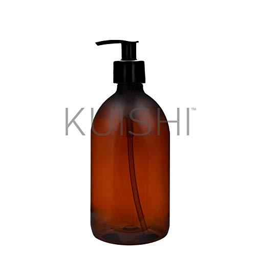 Kuishi - Botellas de plástico ámbar marrón con Bomba, dispensador de jabón de plástico Recargable para baño y Cocina, Lavado, lociones, champú, acondicionador, Gel de Ducha, plástico, Ámbar, x1 500ml