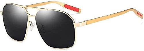 Gafas de sol polarizadas para hombre y mujer, protección UV, para deportes al aire libre, viajes junto al mar, marco ultra ligero (color: gris), Gold,