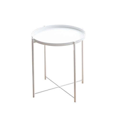 LICHUAN Side Table Metal Side Table Coffee Table Stylish Folding Tray Table Weather Resistant Outdoor Side Table Small Round End Table End Table Easy Assembly (Color : White)