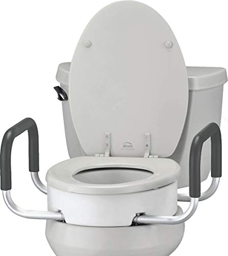 NOVA Medical Products Toilet Seat Riser with Handles, White, 1 Count