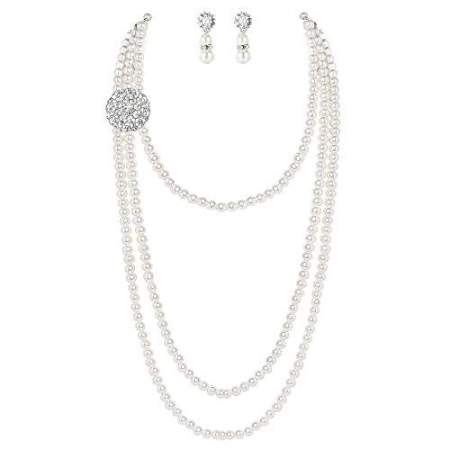 Coucoland 1920s Halskette Damen Imitation Perlen Kette mit Ohringe Retro Hepburn Schmuck Damen Fasching Kostüm Accessoires (Weiß)