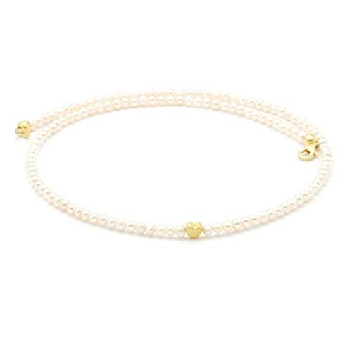 Zarte Perlenkette aus echten Süßwasser-Perlen mit kleinem Herz, Silber oder gold, schönes Geschenk für Frauen und Mädchen