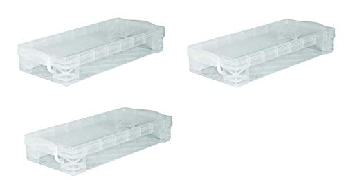 Super Stacker Pencil Box, 8.25 x 1.5 x 4 Inches, Clear, Sold as 3 Pack (40309)