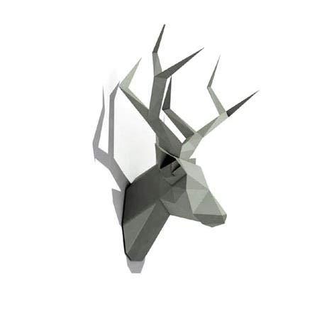 Mamut Cabeza de Ciervo 3D para Montar - Papiroflexia, Origami Montaje a Mano - Color Negro, cartón Reforzado y Perforado, Piezas Cortadas, decoración Pared