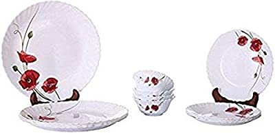 Home-Cart Red Carnation Floral Design Opalware Dinner Set, 33 pcs (White)