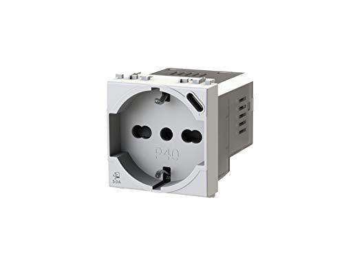 4box P40 USB3.0 - Presa elettrica schuko tipo P40 con integrato un alimentatore USB da 3 Ampere con connettore di tipo C compatibile con Vimar Arkè bianca