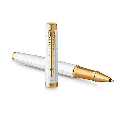Parker IM penna roller | Laccato perla premium con finiture in oro | Punta fine con ricarica di inchiostro nero | Confezione regalo