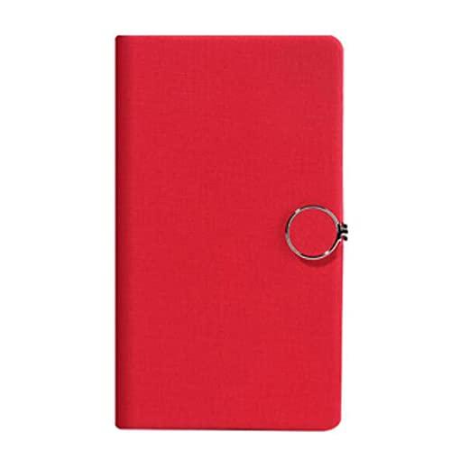 Cuadernos Cuaderno Diario Nota Tomando la revista Chinese Style Hard Funda 100 hojas de hebilla de papel 7.5 pulgadas * 4.2 pulgadas Diario (Color : Red)