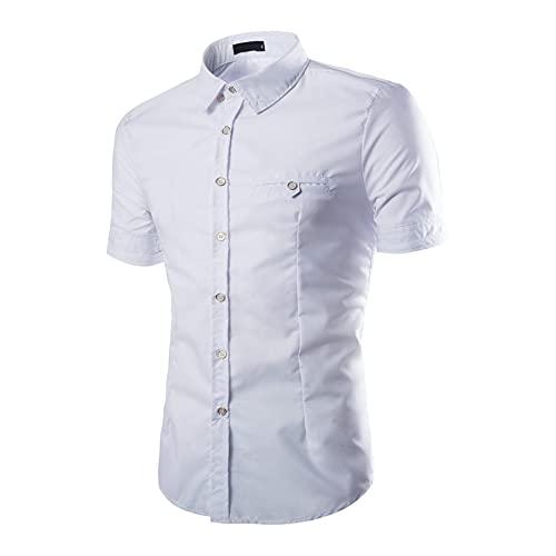 Camisa Hombres Moda Básica Botón Placket Kent Collar Hombres Camisa Casual Verano Diseño Tendencia Manga Corta Hombres Camisa Henley Slim Fit Color Sólido Hombres Camisa Negocios