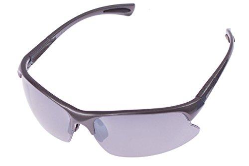 Crivit® Sportbrille - Ultralieicht - 100% UV-Schutz + Wechselgläser + Etui + Putztuch + Brillen Kordel Anthrazit-Glänzend
