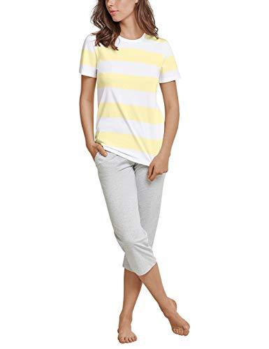 Schiesser Damen Anzug 3/4, 1/2 Arm Zweiteiliger Schlafanzug, Gelb (gelb 600), 38