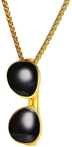 Aluyouqi Co.,ltd Collar Collar Collar Collar Gafas De Sol Negras Cadena Colgante De Acero Inoxidable Color Dorado Unisex Nueva Joyería Collar Colgante para Mujeres Hombres