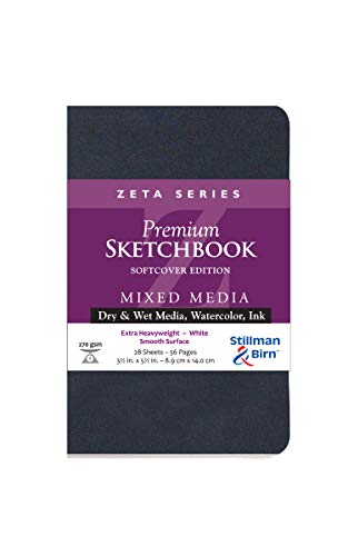 Stillman & Birn Zeta Series Softcover Sketchbook, 3.5' x 5.5', 270 gsm (Extra Heavyweight), White Paper, Smooth Surface