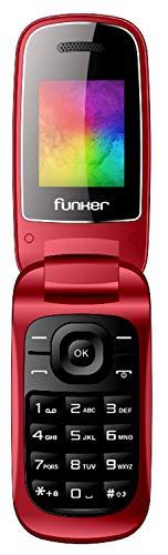 Funker F4 Classic Flip, telefono con Tapa, Teclas cómodas y Volumen Fuerte (Rojo)