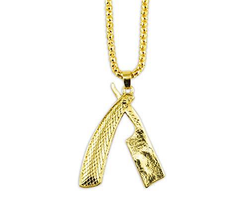 Colar de lâmina reta de ouro MD Barber (texturizado) com corrente de rolo e chaveiro
