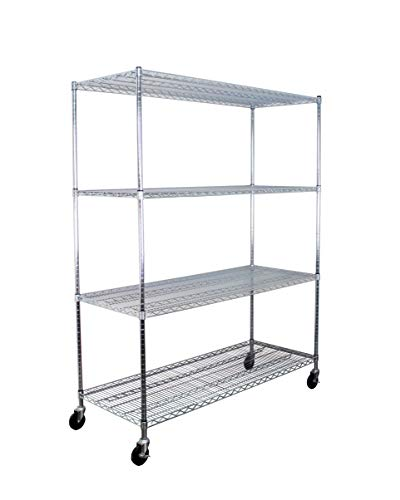 SafeRacks NSF Certified Commercial Grade Adjustable 4-Tier Steel Wire Shelving Rack with 4 Wheels - 24 x 60 x 72 24x60x72 4-Tier