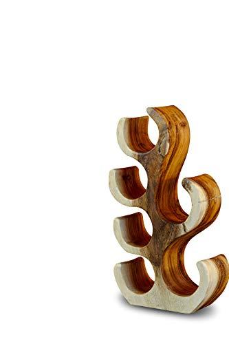 Kinaree 42cm Holz Weinregal für 6 Flaschen aus Akazie (Suar) Massivholz Natur braun