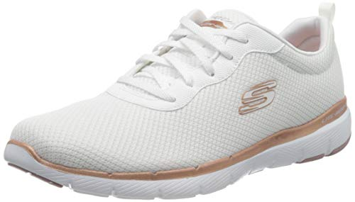Skechers Damen Flex Appeal 3.0-first Insight Sneaker, White Mesh Rose Gold Trim, 41 EU
