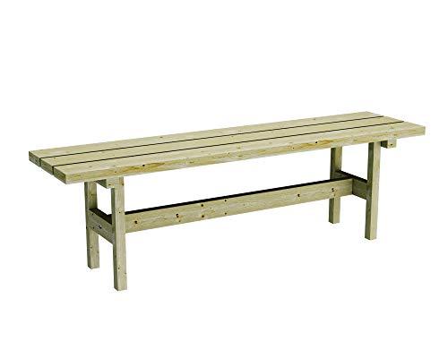 PLATAN ROOM Gartenbank aus Kiefernholz 150 cm / 180 cm breit Holzbank stabil rustikal Gartenmöbel Kiefer massiv Imprägniert (Gartenbank ohne Lehne, 150 cm)