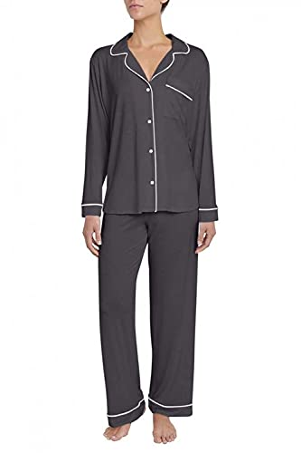 Eberjey Gisele Classic Women's Pajama Set | Long Sleeve Button Down Shirt with Front Pocket, Shorts with Elastic Waist | Super Soft Lightweight Breathable Modal Jersey Fabric Sleepwear