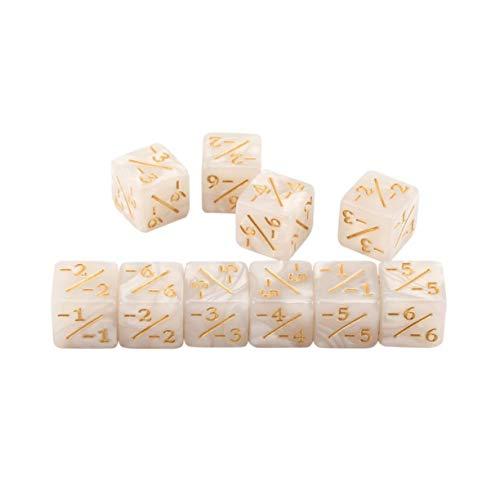 Sagladiolus 10x Würfelzähler 5 Positiv + 1 / + 1 & 5 Negativ -1 / -1 Für Magie Das Sammeltischspiel Lustige Würfel Hohe Qualität - Weiß