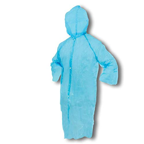 TronicXL 100 STÜCK Overall Besuchermantel Folienoverall Einweg Schürzen Einwegschürzen Metzger Plastik Maler/Küche/Bistro/Fleischer/Schlachter Einmal Einmalschürze Kunststoff Kittel (blau)